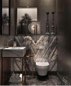 Washroom goals 🖤 By . Bad Inspiration, Bathroom Inspiration, Modern Bathroom, Small Bathroom, Nature Bathroom, Disney Bathroom, Mermaid Bathroom, Brass Bathroom, Wc Decoration