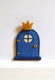 Fairy Prince or Princess door with a glow-in-the-dark window Fairy Doors, Tooth Fairy, Rubber Duck, Wool Felt, Polymer Clay, Crafts For Kids, Crafty, Handmade, Jumping Clay