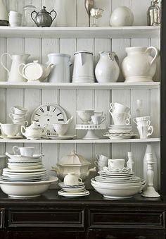 Shelves full of white and cream