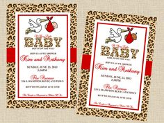 cheetah print baby shower invitation animal by