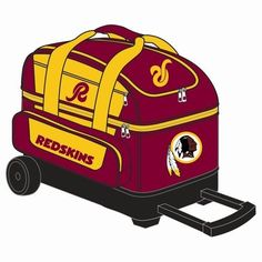 """NFL Double Roller Bowling Bag- Washington Redskins by KR Strikeforce Bowling Bags. Save 24 Off!. $106.95. What a great bag for you NFL Football Fans! Two-ball Roller Color coordinated locking retractable square handle which extends to 36"""" Separate shoe compartment (Holds up to size 15 shoes) 600D nylon material Wide 5 inch wheels Embroidered logos Two front zippered accessory pockets Embroidered with NFL team logo Dimensions: 11"""" W x 19"""" D x 23"""" H 5-Year Manufacturer's Warranty"""