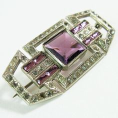 1920s Art Deco Purple Rhinestone Pin Brooch