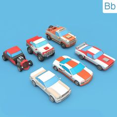 3DOcean Low Poly Cars Pack 17839738