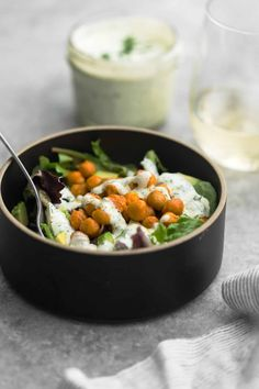 Easy Buffalo Chickpea Salad with Homemade Ranch
