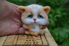 Neede Felted Brooch Cat Stuffed Handmade Artist Wool Miniature Animals 3in #Unbranded