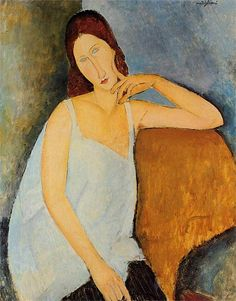 Painting my one of my favorite artists, Amadeo Modigliani.  The subject is probably (?) his common-law wife, Jeanne.