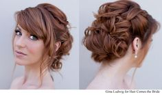 Romantic bridal hair redhead updo by Hair Comes the Bride.
