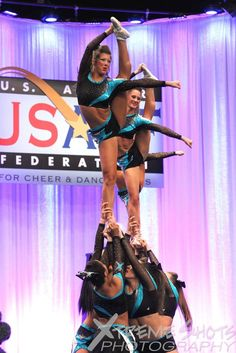 Former Cheer Extreme Senior Elite's Gabie Dinsbeer & Abby Golding preforming at the World Championships 2014 at Walt Disney World Resort in Orlando, FL.