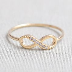 delicate Infinity ring in Gold, valentines day... Yes please lol