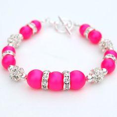Neon Pink Pearl Rhinestone Bracelet Bridesmaid by AMIdesigns, $24.00