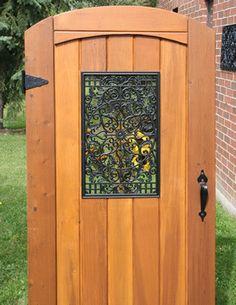 "Aluminum Cast Black Rectangle Wooden Gate Decorative Insert 24""h x 15""w"