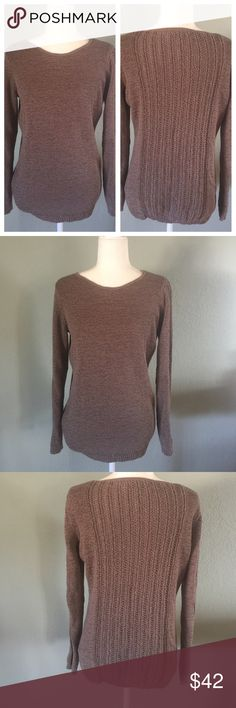 "Rachel Zoe Karla open knot sweater Pretty stylish crew neck sweater in a brownish gray color.  Open weave knit material that is not too heavy. Size large.   Approximate measurements 20.5"" armpit to armpit, 25"" length, 23"" sleeves. EUC. Rachel Zoe Sweaters Crew & Scoop Necks"