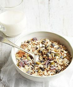 TRIED: mmm so yummy! Vegan wheat free Muesli: 2 cups rolled oats, 1/3 cup sunflower seeds,1/3 cup pumpkin seeds,   ¼ cup dried cranberries, raisins,1/2 cup almonds, roughly chopped, can add millet