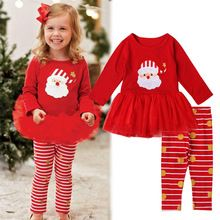Christmas Newborn Toddler Baby Girls Clothes Set Long Sleeves Skirt Dress+Trousers XMAS Outfit 0-3 Years(China (Mainland))