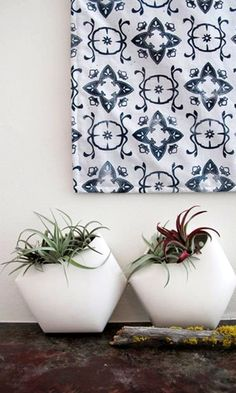 "Fabric Wall Hanging In Navy ""Casablanca"" Print + White Planters White Planters, Modern Planters, Home Design Decor, Diy Home Decor, Interior Design, Cactus Planta, Indoor Plants, Air Plants, Decoration"