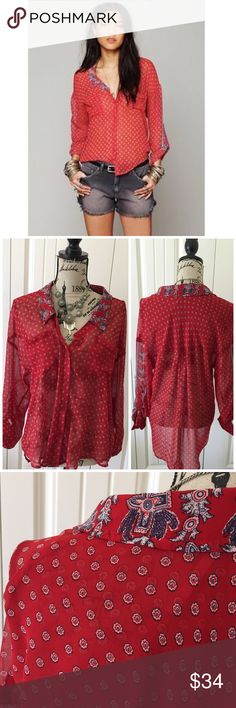 """Free People Red Bandana Sheer Button Down Top This sheer top has a beautiful combination of red white & blue in a bandana print. It's a sheer button down & great for layering all year around{actual color of item may vary slightly from pics}  *shoulders:25"""" *chest:22"""" *waist:24"""" *length:24/29.5""""/sleeves:26.5"""" *material/care:100% polyester/hand wash  *fit:true/billowy might work for large too  *condition:good no rips/stains  🌸20% off bundles of 3/more items 🌸No Trades  🌸NO HOLDS 🌸No…"""