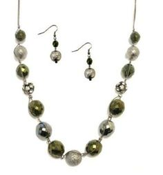 Statement Jewelry 24 Inch Long Green Metallic Bead and Crystal Artisan Necklace and Earring Set >>> See this great product.