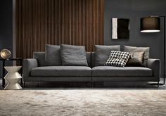 Modern lean sofa with ultra cool decor & textural walls   (re-pinned photo - Minotti sofa)