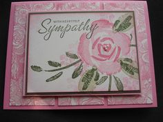 sympathy card in pink...lovely layout with Roses in Winter layered stamping...