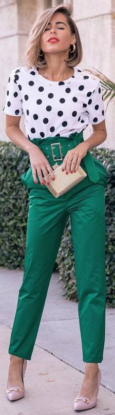 #winter #outfits green pants, dotted shirt, pink shoes