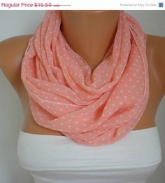 ON SALE Salmon Scarf  Polka Dots Infinity Scarf Shawl by fatwoman, $15.60