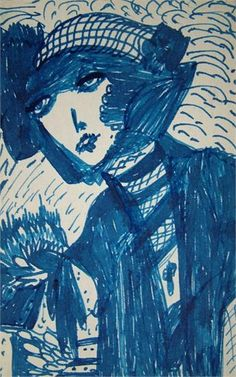 Blue Lady by Madge Gill (1882-1961)