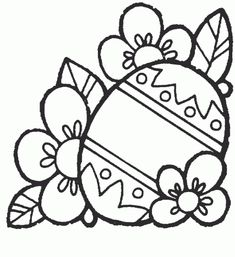 Easter egg with flowers - Free Printable Coloring Pages