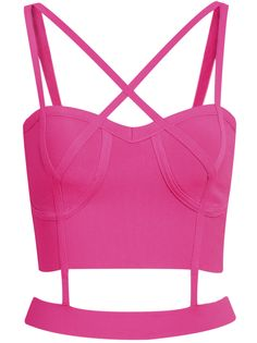 2bddc919e57a6 SHEIN offers Rose Red Spaghetti Strap Hollow Crop Cami Top   more to fit  your fashionable needs.