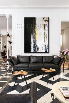 Black And Gold Living Room, Living Room White, White Rooms, Living Room Colors, Living Room Paint, New Living Room, Living Room Modern, Living Room Decor, White Walls