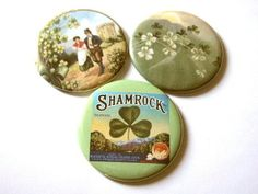 MAGNETS Set of 3 Irish Shamrocks St. Patrick's Day