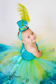Tutu Dress & Mini top hat, Mad Hatter. Pageant dress, crochet tutu dress, Baby tutu, newborn tutu, child tutu and photography prop. $100.00, via Etsy.