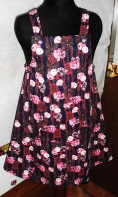 Kleid aus bedrucktem Jeans mit Tasche vorne Gr. 134/140