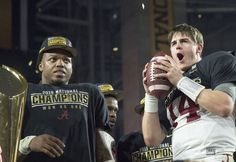 Alabama running back Derrick Henry and quarterback Jake Coker celebrate after their victory over Clemson in the College Football Playoff National Championship football game, Monday, Jan. at University of Phoenix Stadium in Glendale, Ariz College Football Championship, Championship Game, National Championship, Alabama Football, University Of Phoenix Stadium, Nick Saban, Alabama Crimson Tide, Roll Tide, Local News