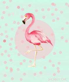 Mint and Coral Flamingo Fun Print by PureJoyPaperie on Etsy