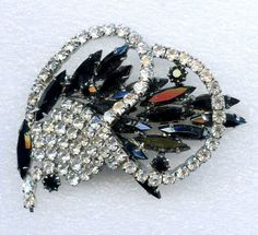 Vtg 1960s Black Navette & Clear RS Abstract Basket Spray Silver Tone Brooch Pin #NotSigned
