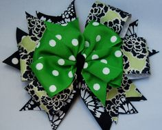 LARGE Boutique Bow - Green Polka Dot