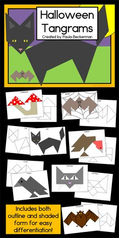 Teach pre-K and elementary students about shapes with these Halloween tangrams! Chat Halloween, Halloween Pictures, Holidays Halloween, 1st Grade Math, Kindergarten Math, Classroom Activities, Classroom Ideas, Halloween Activities, Stem Activities