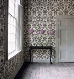 Alliums have the structure and presence to balance this heavy wallpaper and somber colour scheme. By interior stylist Katrin Cargill. Love Wallpaper, Designer Wallpaper, Wallpaper Ideas, Interior Stylist, Interior Design, Georgian Architecture, Office Set, House Colors, Fabric Design
