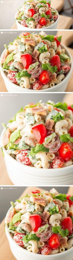 The fabulous flavors of a BLT come together in this BLT Pasta Salad with spinach, crispy bacon, and grape tomatoes tossed in a simple dressing. It's the perfect summer pasta salad!