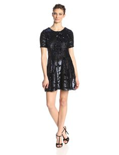 Short Sleeve Velvet Sequin Dress by JOA