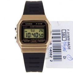F-91WM-9A F91WM-9 Casio Vintage Quartz Alarm Chronograph Gold Black Watch