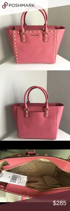 """Michael Kors Sandrine Stud Tulip  Tote Saffiano leather with gold tone studs Tulip color  Top zip closure Dual handles and removable/adjustable long  strap Slip sm pocket on the back Interior: signature lining, multifunction pockets Size : approx 12"""" Lx10"""" H x5"""" W Michael Kors Bags Totes"""