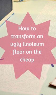 New Kitchen Floor Marmoleum Painted Linoleum Ideas Painting Linoleum Floors, Linoleum Flooring, Basement Flooring, Diy Flooring, Bedroom Flooring, Painted Floors, Kitchen Flooring, Cheap Flooring Ideas Diy, Porch Flooring