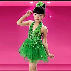 bd48d560a0a7fa kids  dancewear latin dance lovertjes kleden zonder hoofddeksels (blauw    fuchsia   groen