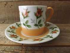 Vintage Demitasse Set Napco Cup and Saucer by purplepansyvintage