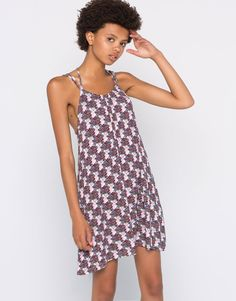 Pull&Bear - dames - jurken - geprinte jurk met gekruist rugpand…