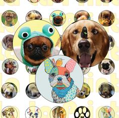 35 Dogs Puppies Digital Party Stickers Circles size 1'', 20mm, 16mm, 14mm, 12mm…