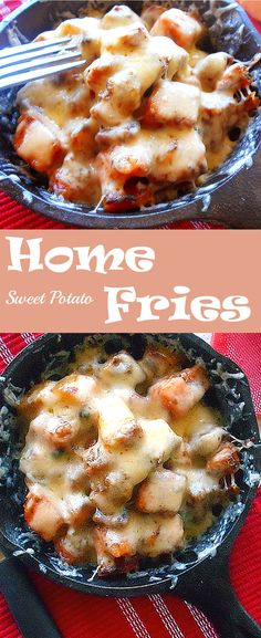 Sweet Potato Home Fries - A delicious breakfast recipe. Sweet potatoes recipe that is quick and easy recipe.  Potatoes and topped with Arla Dofino's Gouda Cheese. #HavartiHolidays