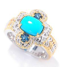 148-144- Gems en Vogue Sleeping Beauty Turquoise & London Blue Topaz Cut-out Ring