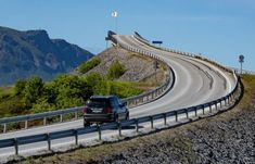 The Atlantic Road winds its way 5 km along the central coast of Norway near Alesund, to the towns of Moldes, Vestnes and remote islands. Dangerous Roads, Beautiful Norway, Alesund, Ancestry, Great Photos, Tourism, Coast, Ocean, Island